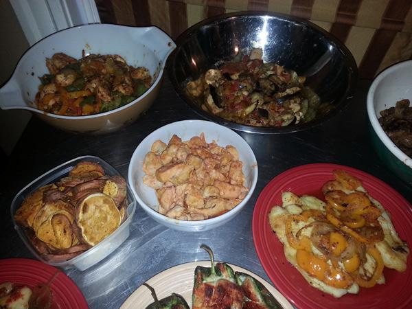 Buffalo chicken, sweet potato chips, Chicken Fajitas, Chicken and Egg plant