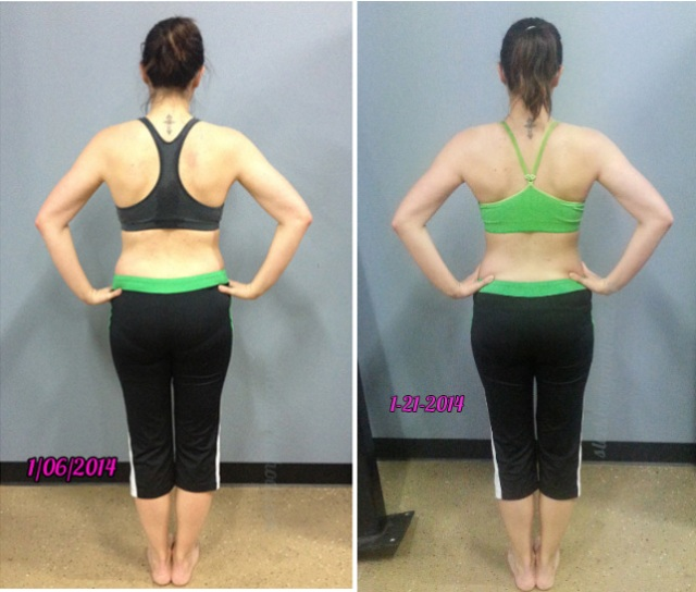 Adding the right nutrients to her meal plan helped fill out her muscles!