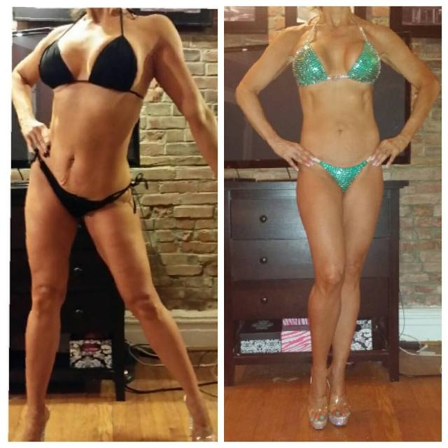 13 weeks out and 8 weeks out. My show bikini fits!